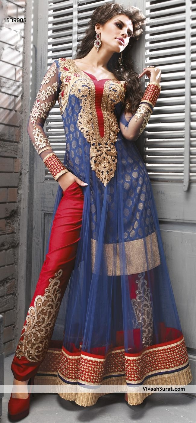 Awesome Royal Blue Net Anarkali Suit  Item Code: 15D9005  Price: Rs7,695   SHOP FROM HERE  http://www.vivaahsurat.com/salwar-kameez/awesome-royal-blue-net-anarkali-suit-15d9005
