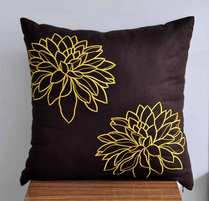 Yellow Floral Throw Pillow Cover, Dark Brown Linen Yellow flower Embroidery, Decorative Pillow Cover, Accent Pillow, 18 x 18 Pillow Cover. $22.00, via Etsy.