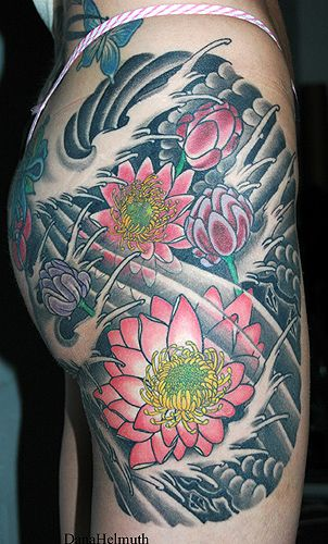 33 best dana helmuth images on pinterest arm tattoos for Japanese wave and flower tattoo