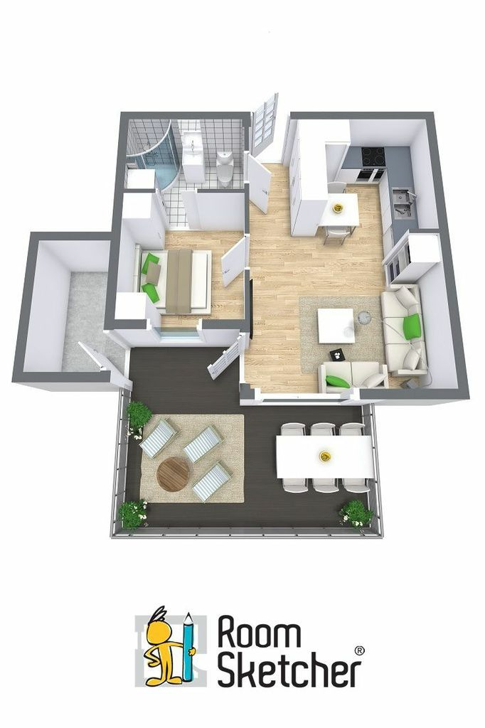 3d Floor Plan For One Bedroom Dwelling Helpful For Home