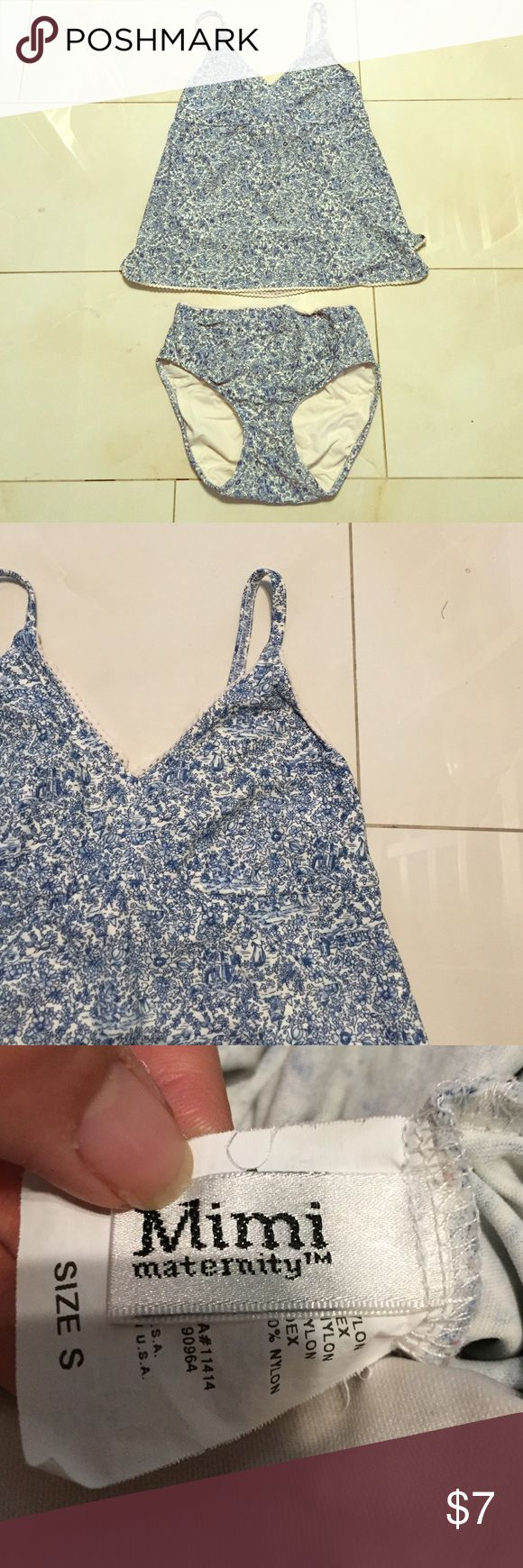 Mimi Maternity 2 piece swim suit Really cute blue and white tankini for soon to be mamas with a bump :) size small Swim Bikinis