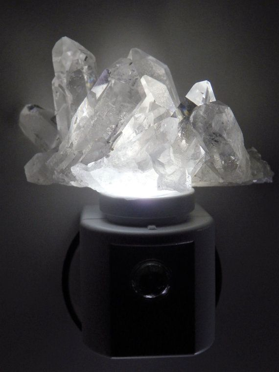 White Quartz LED Gemstone Nite Light. Hand made by Crystal Luxe Lighting PLUS! and available on etsy.