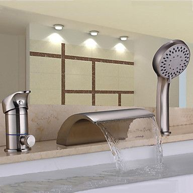 Contemporary Nickel Brushed Three Holes Single Handle Waterfall Handshower Included Bathtub Faucet with Hand Shower – USD $ 189.99
