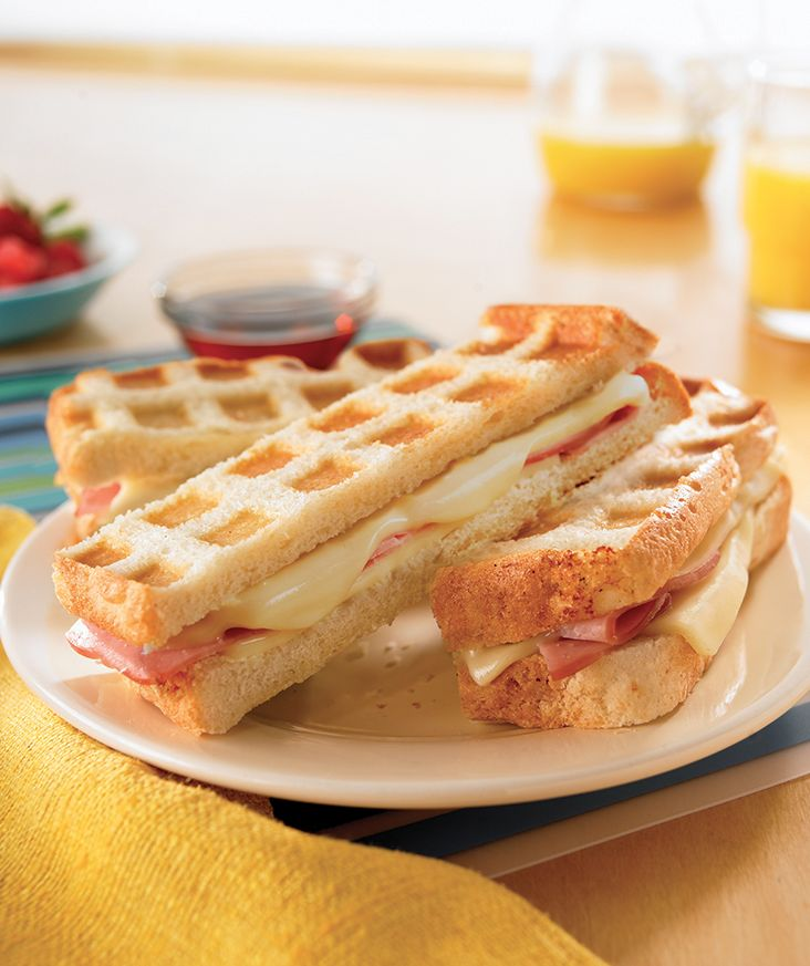 Only four ingredients are needed for these fun Stuffed Waffle Stick Sandwiches.