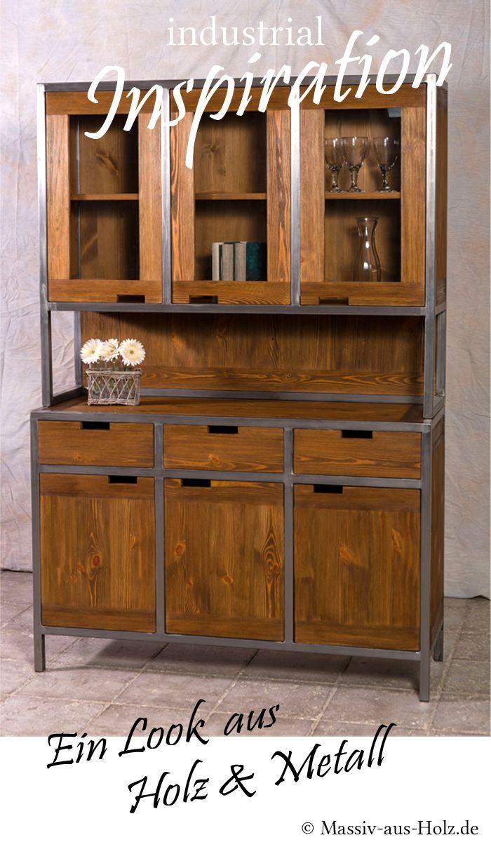 Kuchenbuffet Im Industriedesign Klein Massiv Aus Holz Industriedesign Wohnzimmerschranke Buffetschranke