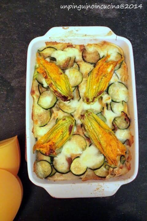 Un pinguino in cucina: Lasagne di pane carasau ai fiori di zucca - Pane Carasau (Sardinian Flatbread) Lasagna with Courgette Flowers