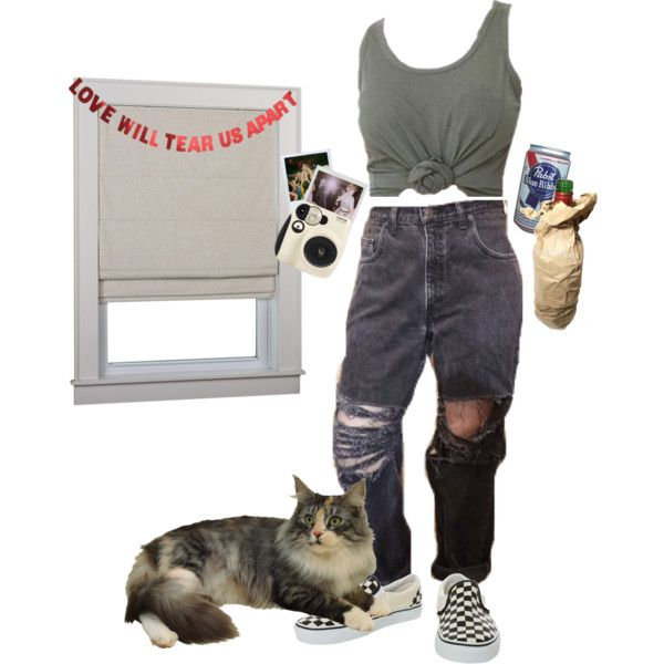 rollin with the homies by kampow on Polyvore featuring Vans, WALL, Polaroid, indie, Punk, grunge and aesthetic