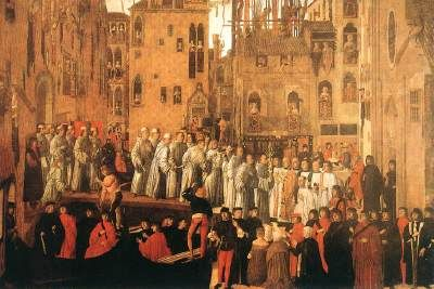 MANSUETI, Giovanni (known 1485-1526 in Venice)   Click!	 Miracle of the Relic of the Holy Cross in Campo San Lio  c. 1494 Tempera on canvas, 318 x 458 cm Gallerie dell'Accademia, Venice  The Confraternity of the Scuola Grande di San Giovanni Evangelista in Venice called upon the most respected Venetian painters of the period, including Pietro Perugino, Vittore Carpaccio, Gentile Bellini, Giovanni Mansueti, Lazzaro Bastiani and Benedetto Diana to paint nine canvases for the Great Hall of…