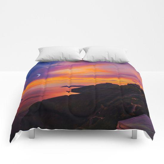 Santorini,Fira,Sunset Comforters