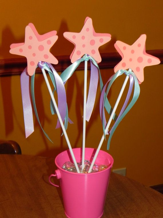 Mermaid Wands  Mermaid Birthday Star wands at Super Target $2.00 ea. Add ribbon