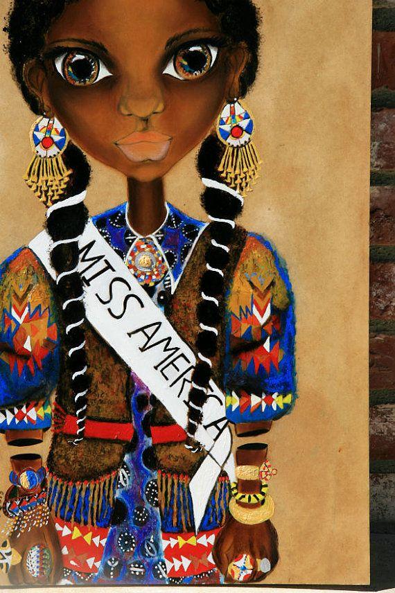 Gullah Geechee Princess : Original African Black Art Painting