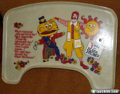 Old school McDonald's high chair tray.