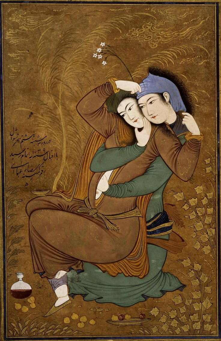 Two Lovers by Reza Abbasi, (1630)