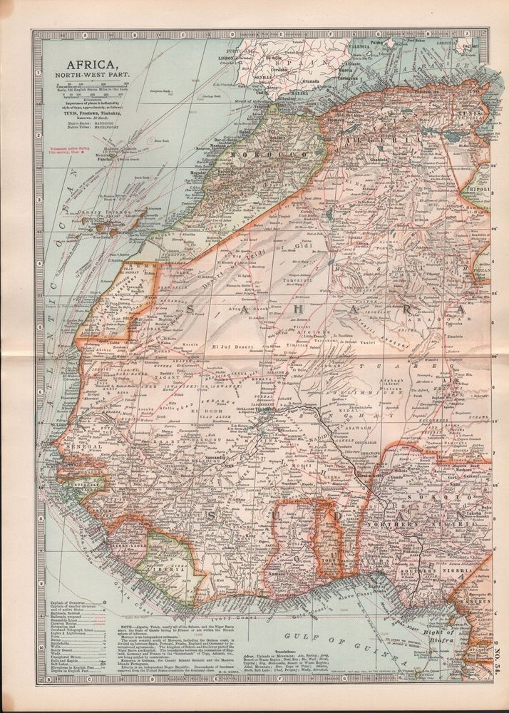 1903 Britannica Antique Map Africa North West Morocco Algeria