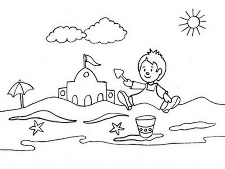 Coloring Pages Free Beach Summer Season Pictures For Kids Drawing 101