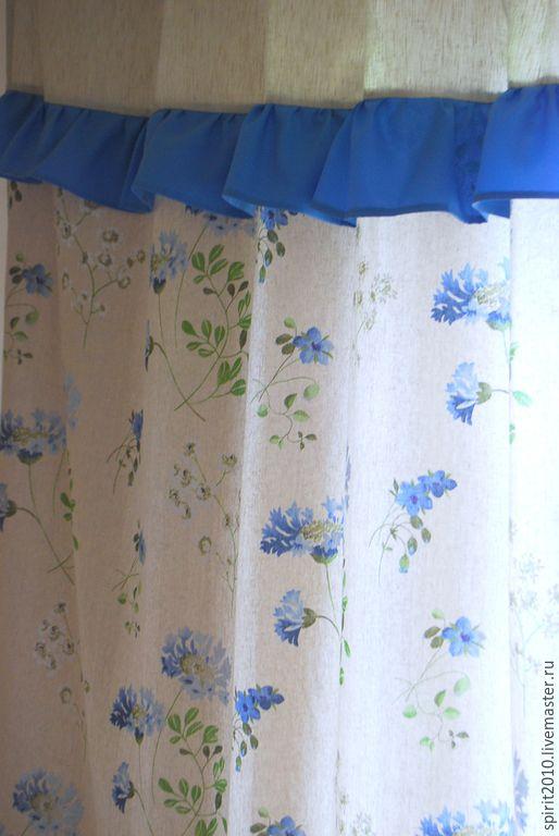 """Купить Шторы льняные с оборками """"Васильки"""" - брусничный, голубой, синий, бежевый, лен, шторы из льна"""