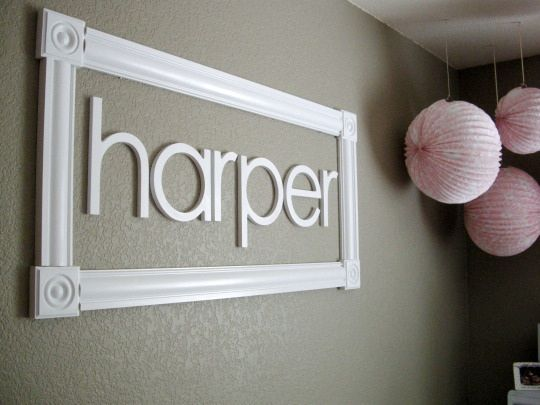 Frame baby name or last name with crown molding boards