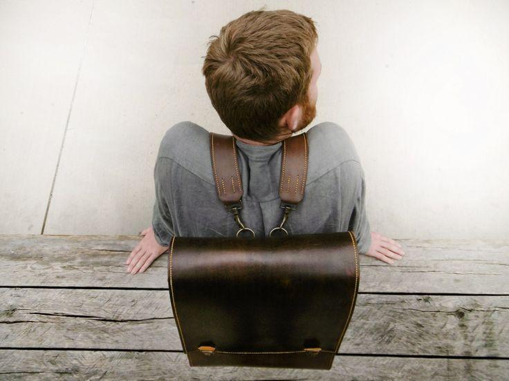 Handmade handstiched men's leather Backpack