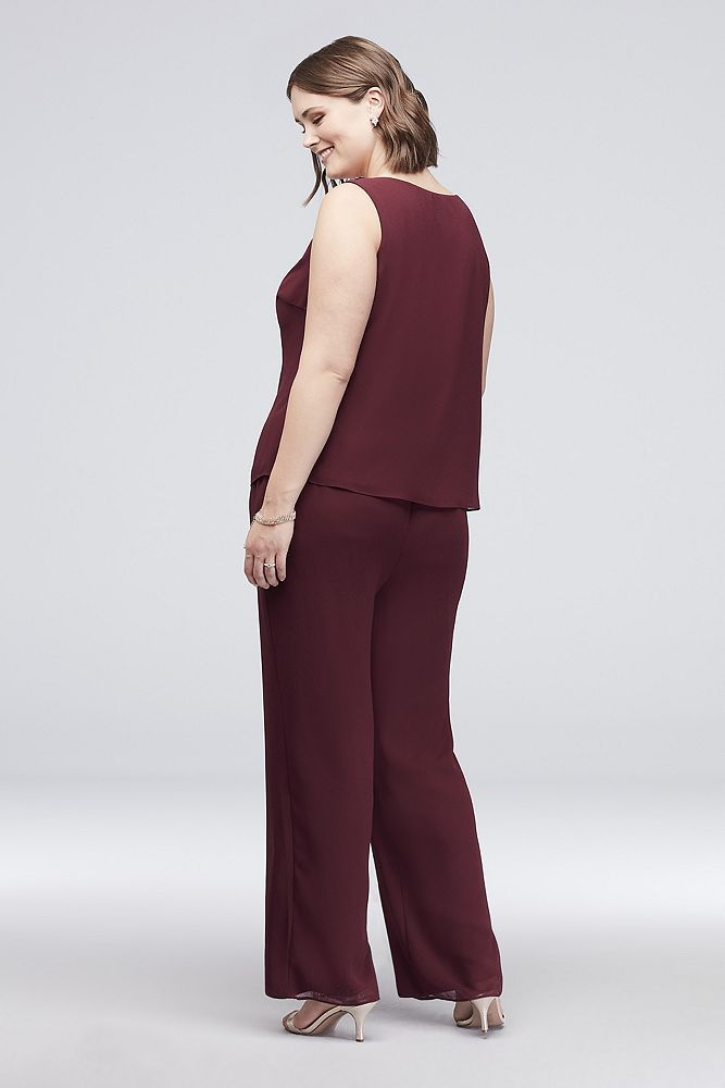 Satin-Trimmed Plus Size Pantsuit with Beaded Neck Style 27821, Wine, 20W 5