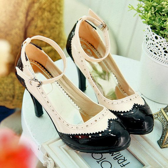 Mary Janes Saddle Oxford Style Women's Patent Leather Shoes Vintage Inspired high heels