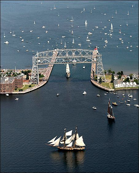 Tall ships arriving at Duluth Harbor