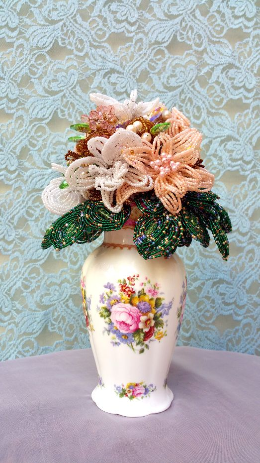 A large and leafy French beaded bouquet, created by Annalee Beer of EverAfter Artisanry.