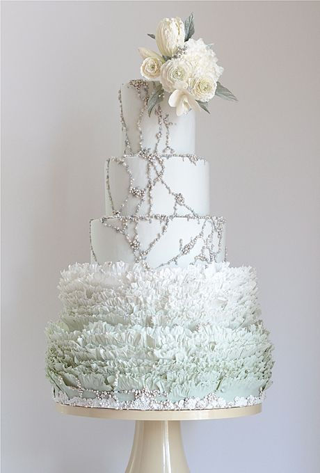 A pale frosty blue winter wedding cake.