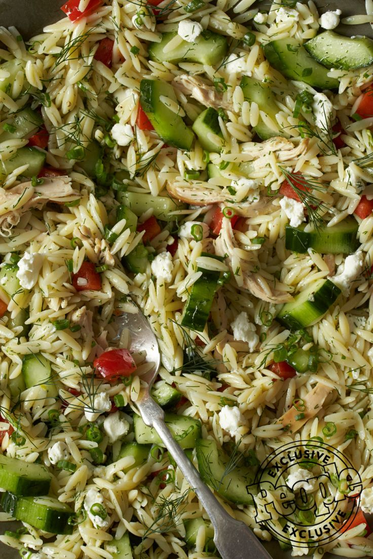 The Cooking Light Diet's Lemon Chicken & Orzo Salad ¾ cup uncooked orzo ¼ tsp. lemon zest 3 tbsp. lemon juice 1 tsp. extra-virgin olive oil ½ tsp. kosher salt ½ tsp. minced garlic ¼ tsp. …