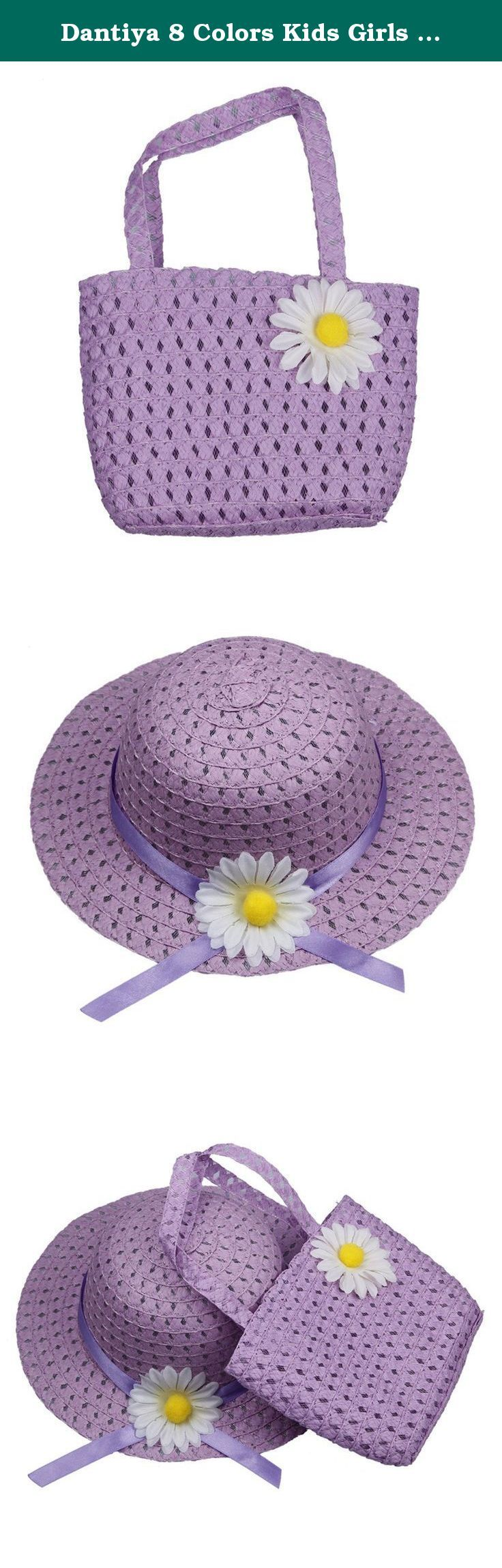 Dantiya 8 Colors Kids Girls Straw Sun Hat Cap Sunflower Handbag Purse Sets (Purple). Package includes: 1 x girl hat 1 x girl purse Please allow a little color aberration.