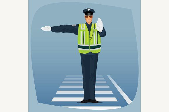 Traffic Police Standing At Crossroad Traffic Police Police Traffic