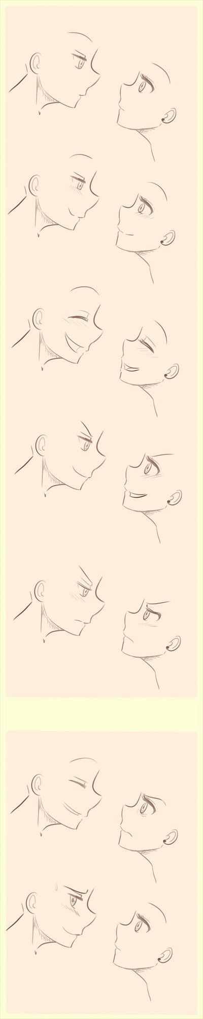 Anime/Manga Side profile expressions reference. by littlesomethings on DeviantArt