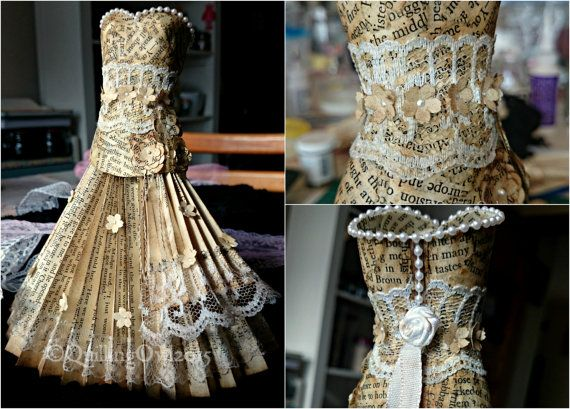 Paper Dress Art Upcycled Art Vintage Dress OOAK by QuillingOwl