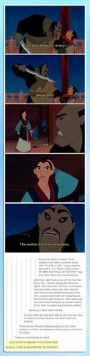 This is why i like this guy the most out of all the male characters in Mulan. I know he is the bad guy but he sees Mulan as Ping the soldier who killed his men and humiliated him not a woman who has brought dishonour  to everyone and is only good for bringing sons. He see her for her skills and that is why he is my favourite Guy in the movie even when he is the one we are meant to hate.