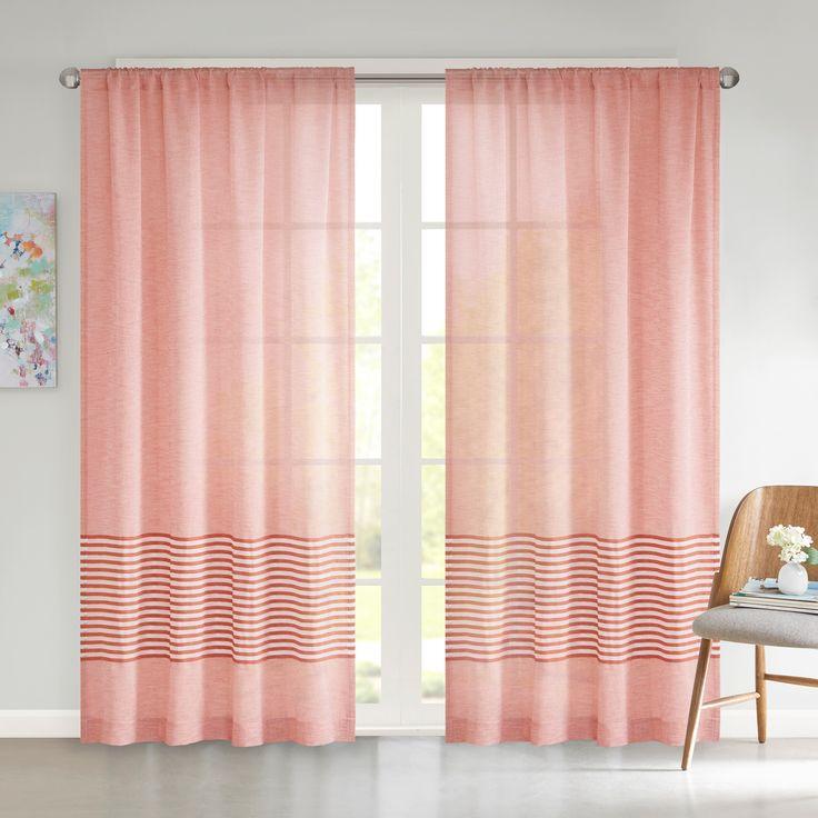 Amie Dobby Stripe Window Sheer - Spice Red - (50x63)