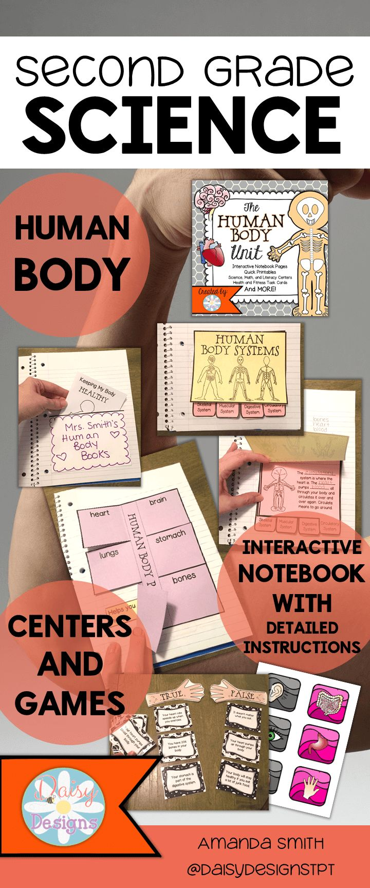 A full age-appropriate second grade science unit on the human body. Complete with interactive notebook pages, quick printables, fun games and centers, and exciting science experiments!