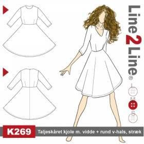 Taljeskåret kjole med vidde + rund v-hals, stræk