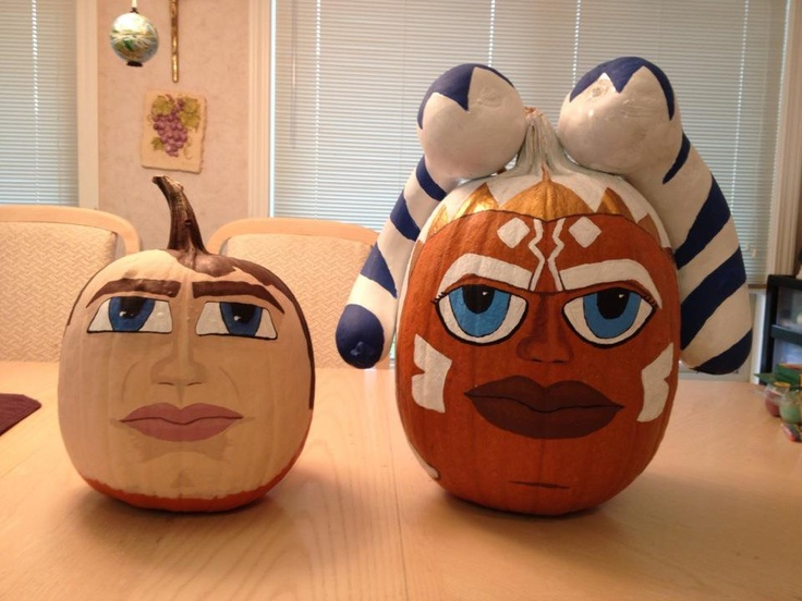 my 4yo son requested star wars pumpkins this year specifically anakin skywalker and ahsoka. Black Bedroom Furniture Sets. Home Design Ideas