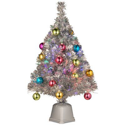 """The Holiday Aisle Fiber Optics 2""""8"""" Silver Firework Artificial Christmas Tree with LED Multi Light with Stand"""