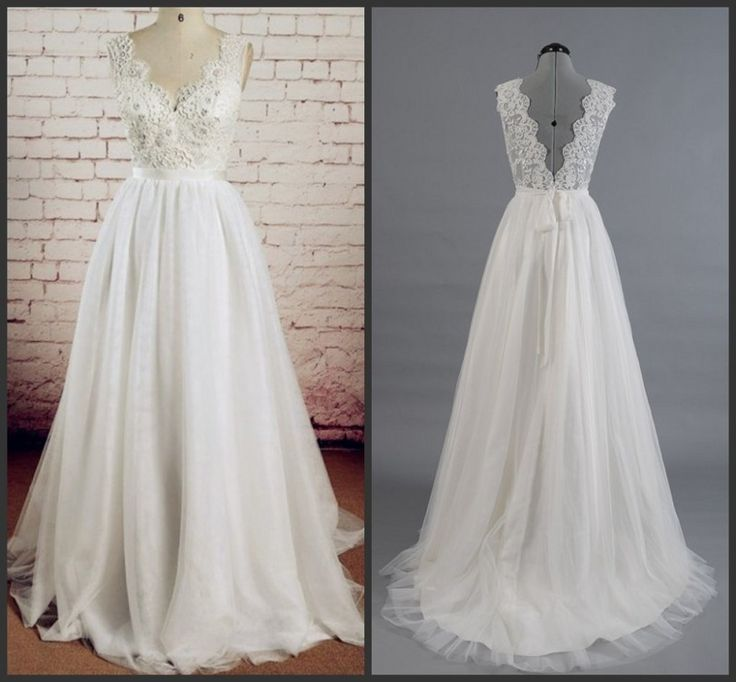 V-Neck Lace Applique Low Back Tulle A-line Wedding Dress