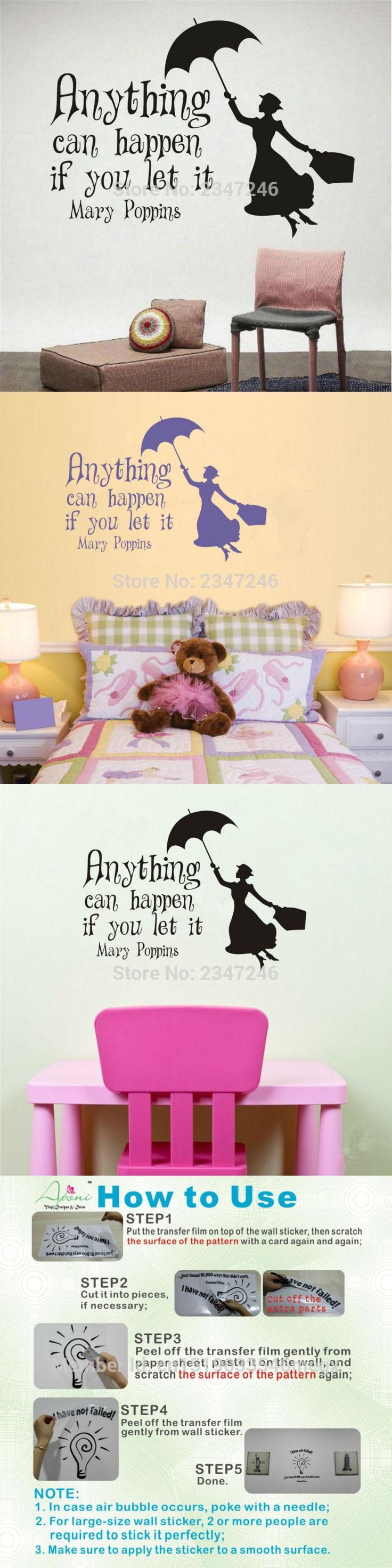 Best 25 mary poppins quotes ideas on pinterest disney quotes to mary poppins quote anything can happen if you let it fairytale vinyl wall decal sticker art amipublicfo Image collections