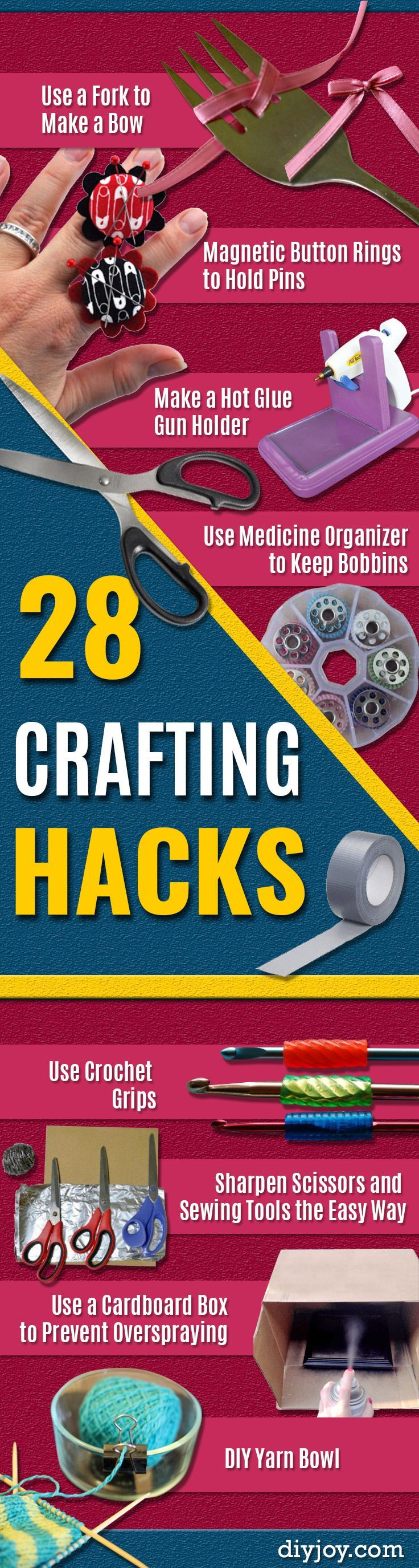 DIY Crafting Hacks - Easy Crafting Ideas for Quick DIY Projects - Awesome Creative, Crafty Ways for Dollar Store, Organizing, Yarn, Scissors and Pom Poms http://diyjoy.com/diy-crafting-hacks