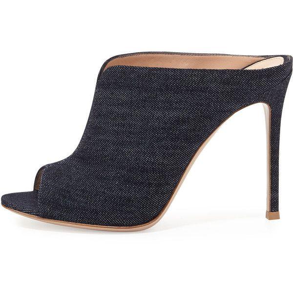 Gianvito Rossi Denim Peep-Toe Mule Sandal ($370) ❤ liked on Polyvore featuring shoes, sandals, peep toe mules, peep toe shoes, high heel shoes, peep toe sandals and peep-toe shoes