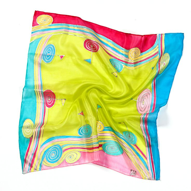 "Hand-painted scarf ""Fun of the Golf"" is made of natural silk in jolly colours with the golf theme for every woman or lady. Each item is a little bit different; therefore, each item is unique. See also our other silk products. You will certainly find some products that will go with this handkerchief. It is a unique gift for golfers. However, in case you are interested, we can design a hand-painted handkerchief for your golf club. Size is 40 x 40 cm."