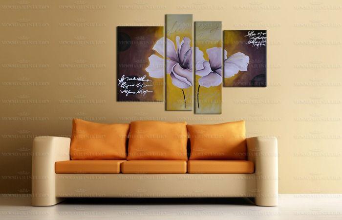 Cuadro abstracto moderno flores lirios  de MoodArtStudio daWanda por DaWanda.com