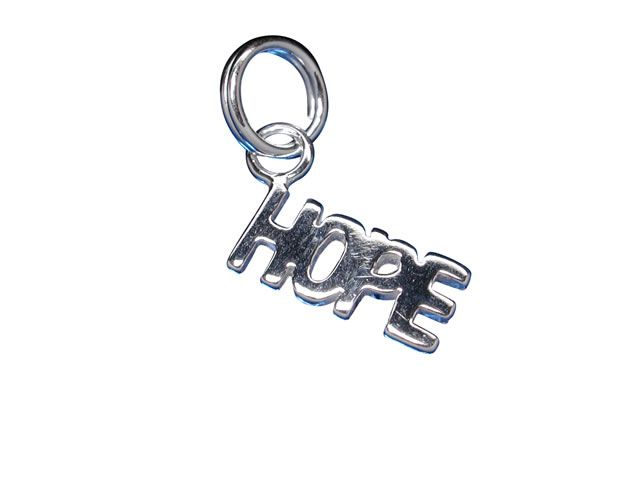 Sterling Silver 11x5mm *hope* Charm With Split Ring