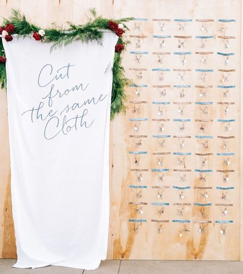 """How cute is this couple's """"cut from the same cloth"""" themed wedding?! The gold tailoring scissor escort cards are genius! #theknot : @brandonkiddphoto I Planning: @amorology via @angela4design"""