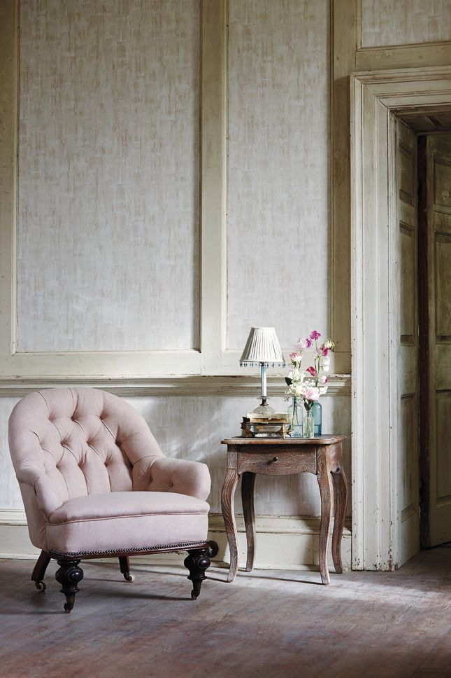 Drift texture wallpaper from Harlequin has the texture of limed wood in a natural, chalky colour palette