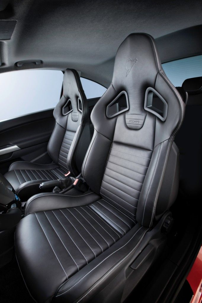 Recaro sports seats in Nappa leather inside the Opel Corsa OPC Nürburgring Edition.