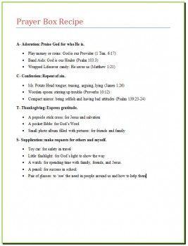 Prayer Box Recipe - great idea to help teach kids the ACTS prayer model!