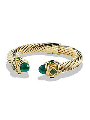 David Yurman Renaissance Bracelet with Malachite and Green/Chrome Diopside in 18K Gold